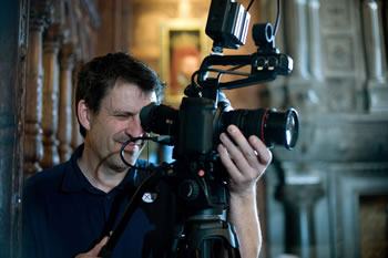 Paul Midcalf filming a wedding at Hever Castle on a Canon C100. Photograph by Kenny Hickey