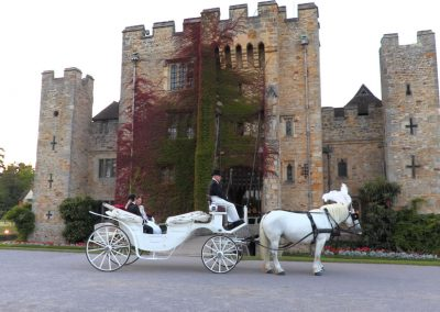 Yang and Chengyang outside Hever Castle in a horse drawn carriage